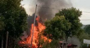 Kebakaran terjadi di Desa Muara Madras, Kecamatan Jangkat Kabupaten Merangin, Kamis (21/3)