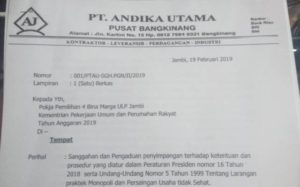 Laporan PT. Andika Utama ke Pokja Pemilihan 4 BM ULP Jambi Kementrian PU PR Tahun 2019