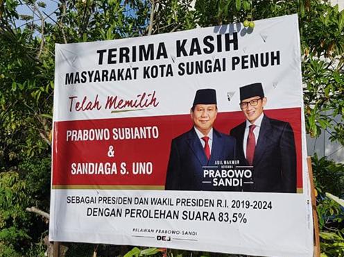 Photo of Baleho Ucapan Terimakasih Prabowo Sandi Untuk Masyarakat Kota Sungai Penuh Diturunkan, Ada apa?