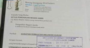 Andika Gugat PPK 10 Balai Wilayah 4 BM PUPR Jambi ke Pengadilan Negeri Jambi
