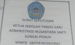 SK Ketua STIA Nusa Nomor 16 Tahun 2017