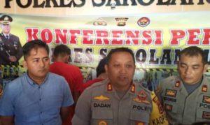 Kapolres Sarolangun saat konferensi pers terhadap dua penodong warga Sarolangun.
