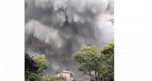 Gunung Tangkuban Perahu, Jawa Barat, erupsi pada hari Jumat (26/7/2019) sore.