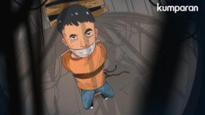 Ilustrasi Anak di ikat