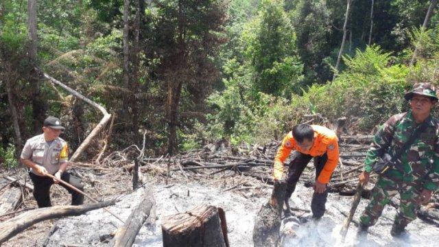 Kebakaran lahan di Merangin, petugas melakukan pemadaman. (Rhizki O/Brito.id)