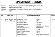 Photo of Ini Spesifikasi Teknis Penggadaan Mesin dan Peralatan Pandai Besi Sungai Penuh