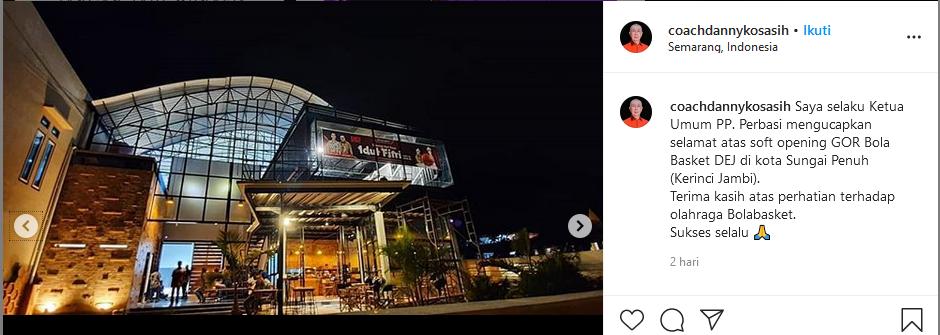 Ucapan Selamat Danny Kosasih untuk DEJ CH Melalui Instagram