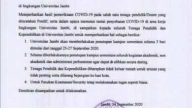 Photo of Satu Dosen Universitas Jambi Postif Covid, Kampus Ditutup